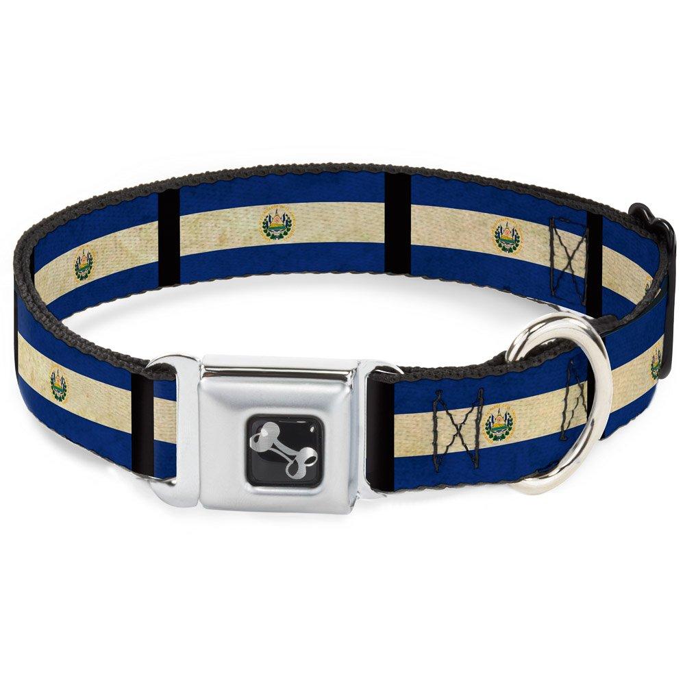 Buckle-Down El Salvador Flag Black Dog Collar Bone, Wide Small 13-18
