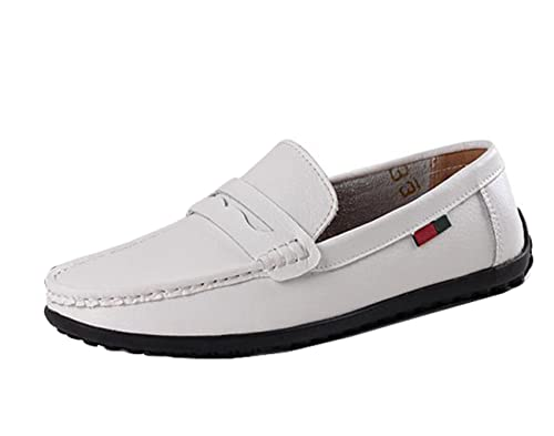 Gaorui Mens Casual Moccasin British Loafer Formal Business Slip on Driving  Leather Dress Boat Shoes White c9b5f5153493