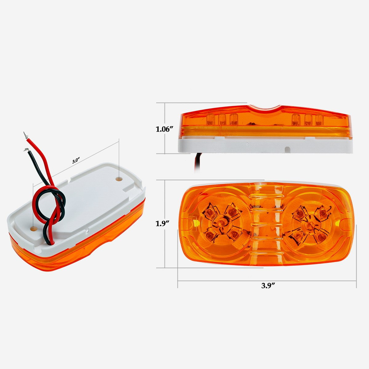 Partsam 13x Trailer Marker Led Light Double Bullseye Amber Red 10led Wiring A With Lights And Side 4x2 Rectangular Rectangle