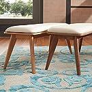 MID-CENTURY LIVING Penelope Danish Modern Upholstered Bench, Natural Oak Finish