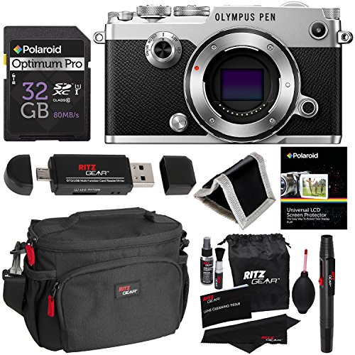 Olympus PEN-F Body Only Silver Camera Kit, 32GB Memory Card, Ritz Gear Cleaning Kit, Ritz Gear Camera Case, Ritz Gear OTG USB Card Reader / Writer, Polaroid Screen Protector & Accessory Bundle