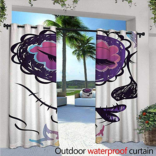 Day Of The Dead Outdoor- Free Standing Outdoor Privacy Curtain W96