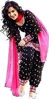 Rangrasiya Women's Cotton Black Patiyala Salwar Suit/Dress Materials