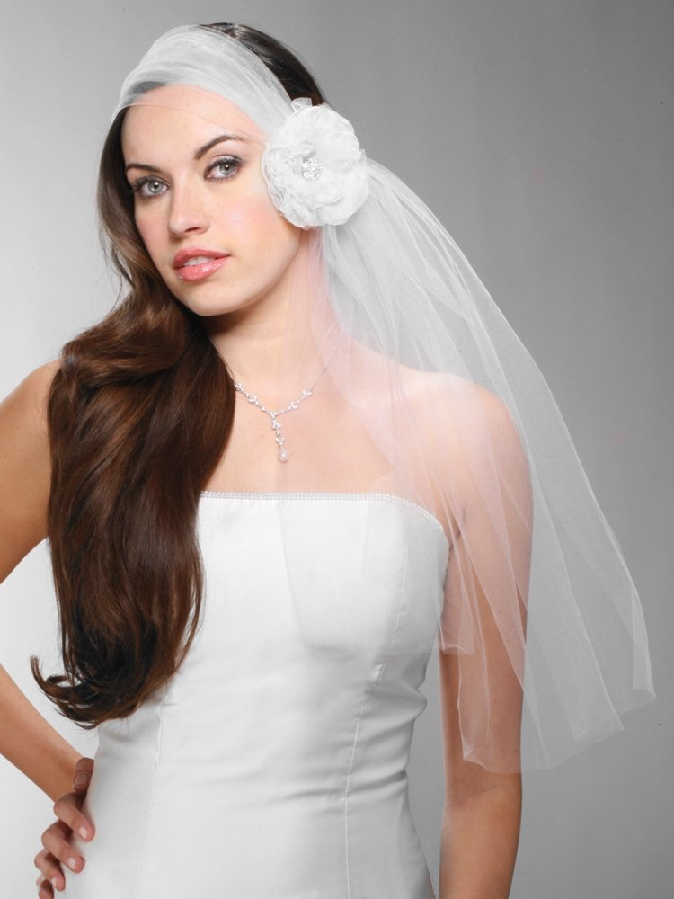 Haute Couture Headband-Style Tulle Bridal Veil with Organza Flower & Pearl Center -Ivory