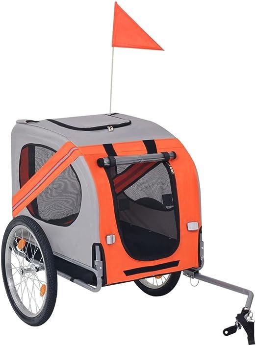 vidaXL Remolque de Bicicleta para Perros Naranja/Gris Accesorios ...