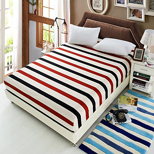 Linen Paper Bonk Shroud - Polyester Fashionable Fitted Elastic Bedsheet Mattress Cover Bedding Linen Bed Sheet - Eff Canvass Bang Plane Jazz Flat Solid Lie Seam Sail Bottom - 1PCs by Unknown (Image #3)