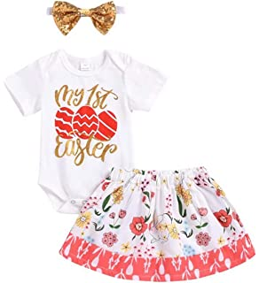68d86c08d5b SUPEYA Baby Girls My 1st Easter Eggs Print Rompers Floral Bunny Skirt  Outfits