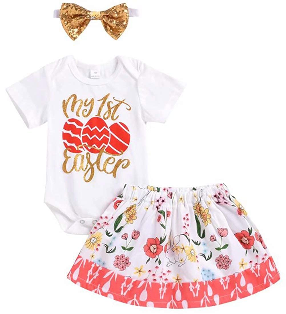 SUPEYA Baby Girls My 1st Easter Eggs Print Rompers Floral Bunny Skirt Outfits