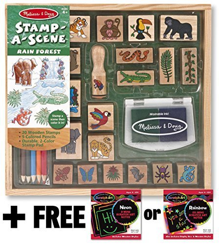 Rain Forest: Stamp-a-Scene Wooden Stamp Set + FREE Melissa & Doug Scratch Art Mini-Pad Bundle [24235]