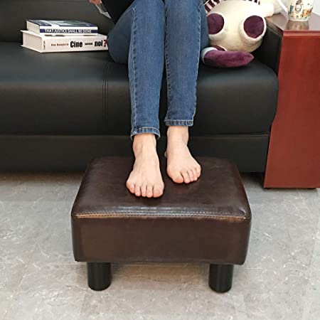 scriptract 6 Small Footstool PU Leather Ottoman Footrest Modern Home Living Room Bedroom Rectangular Stool with Padded Seat Brown