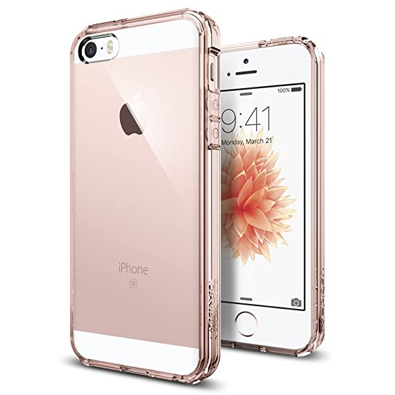 iPhone SE Hülle, Spigen® iPhone 5S/5/SE Hülle [Ultra Hybrid] Luftpolster-Technologie [Rose Crystal] Durchsichtige Rückschale