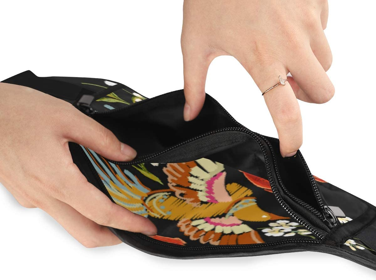 Travel Waist Pack,travel Pocket With Adjustable Belt Embroidery Colorful Floral Pattern Flowers Japanese Running Lumbar Pack For Travel Outdoor Spo