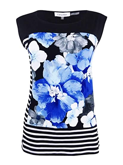 d76581cc27d6fb Calvin Klein Womens Printed Sleeveless Casual Top at Amazon Women s  Clothing store