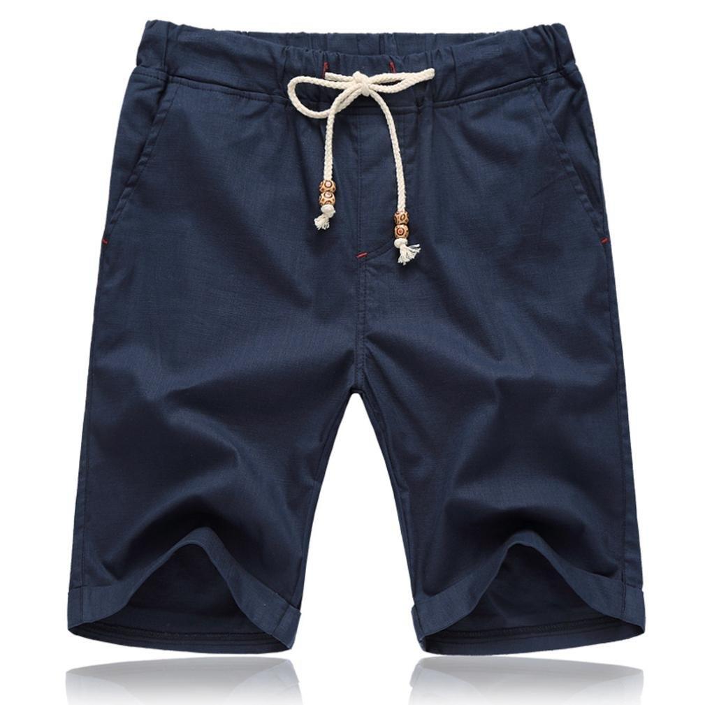 PASATO Men Summer Linen Cotton Solid Beach Casual Elastic Waist Classic Fit Shorts (Navy, XXXXL)