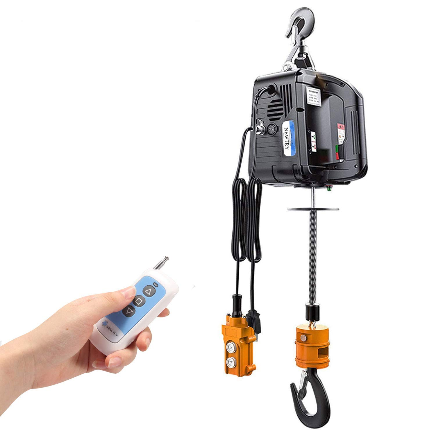 NEWTRY 3 in 1 Electric Hoist Winch 1100lb Wireless Remote Control 7.6m/25ft 110V 1500W Overhead Lift with Overload Protection
