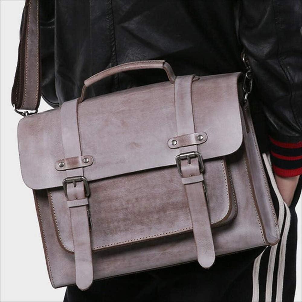JXSHQS Cross Body Mens Handbag Retro Business Briefcase Black Brown 33x26x10 cm Business Briefcase Color : Khaki