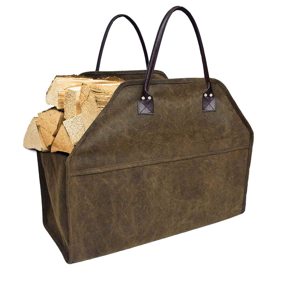 Sundlight Waxed Canvas Firewood Log Carrier Tote Bag Canvas Firewood Log Carrier Durable Firepalce Wood Bag with Reinforce Cotton Straps by Sundlight