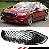 For 2017-2018 Ford Fusion Sport Gloss Black Front Bumper Honeycomb Mesh Upper Grille