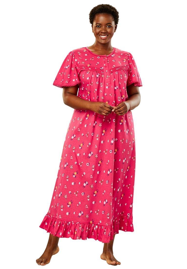 Dreams & Co. Women's Plus Size Long Cotton Gown