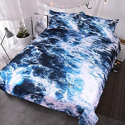 blessliving azul agua de mar Ropa de cama, olas en Ocean agua funda de edredón
