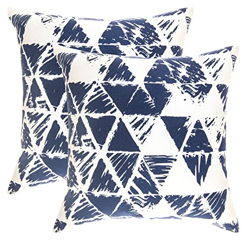 TreeWool, (Pack of 2) Ikat Triangle Geometric Accent Throw Pillow Covers in Cotton Canvas (18 x 18 Inches; Navy Blue & White) (Navy Blue And White Throw Pillows)