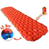 Inflatable Camping Sleeping Pad – Ultra-Compact With Buttons For 2 People or Single Person - Lightweight Sleep Bed Mattress for Backpacking, Travel w/Super Comfortable Air-Support Cells Design