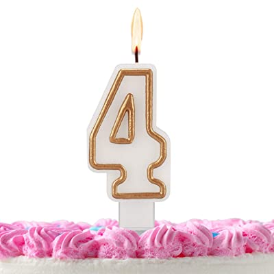 ESEOE Birthday Candles, Gold White Birthday Candles Numbers for Birthday Cakes, Birthday Numbers Candles for Christmas/Birthday/Wedding/Reunion/Theme Part (4): Home & Kitchen