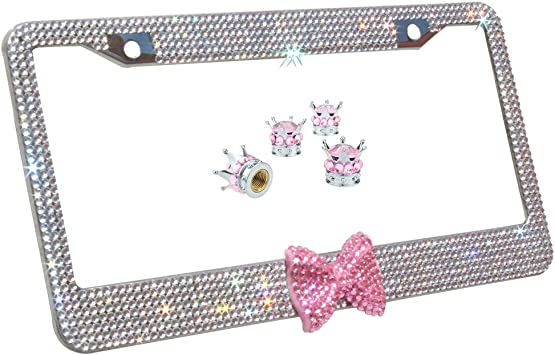 Clear 7 Rows Bling Diamond Crystal License Plate Frame With Red Bow Tie