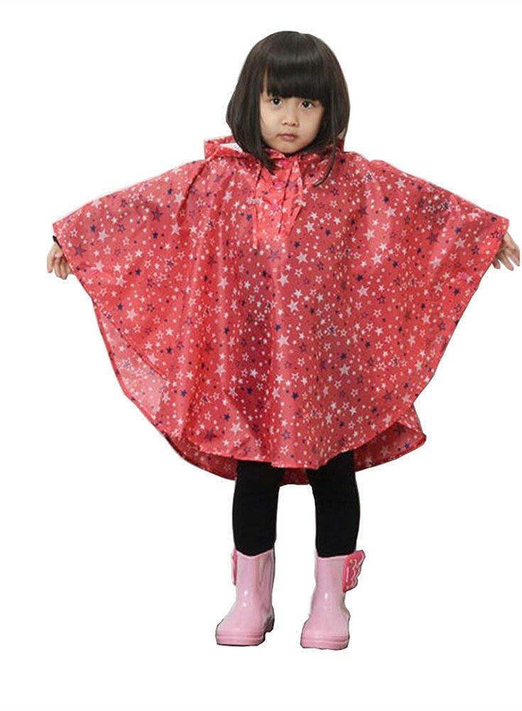 Elufly Kid's Stars Hooded Raincoat