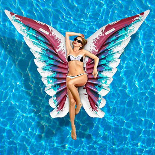 iBaseToy Inflatable Pool Float, Angel Wings Inflatable Floating Raft PVC Pool Lounger for Summer Swimming Pool Party, Butterfly Shape Blow up Beach Toy for Kids and Adults