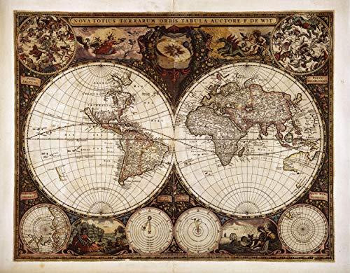 (:: Maps :: A Superb Double Hemisphere World Map,1662 - W. J. Blaeu, Nova et Accuratissima Totius Terrarum Orbis Tabula. Laminated Poster Art Print 24