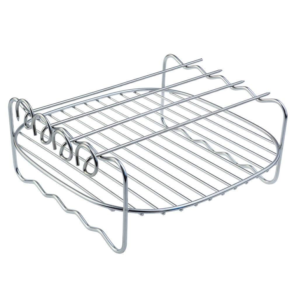 TOOGOO Air fryer Rack Fits all 3.7QT 5.8QT Multi-purpose Double Layer Rack with Skewers Compatible with Phillips, Gowise etc