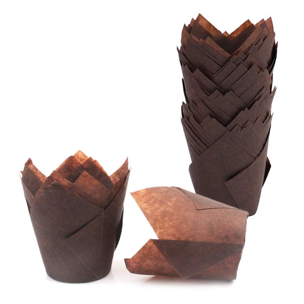 Gobesty Pirottini per muffin pasticceria in carta oleata per muffin cupcake e muffin a forma di tulipano 50 pezzi per caff/è pasticceria casa
