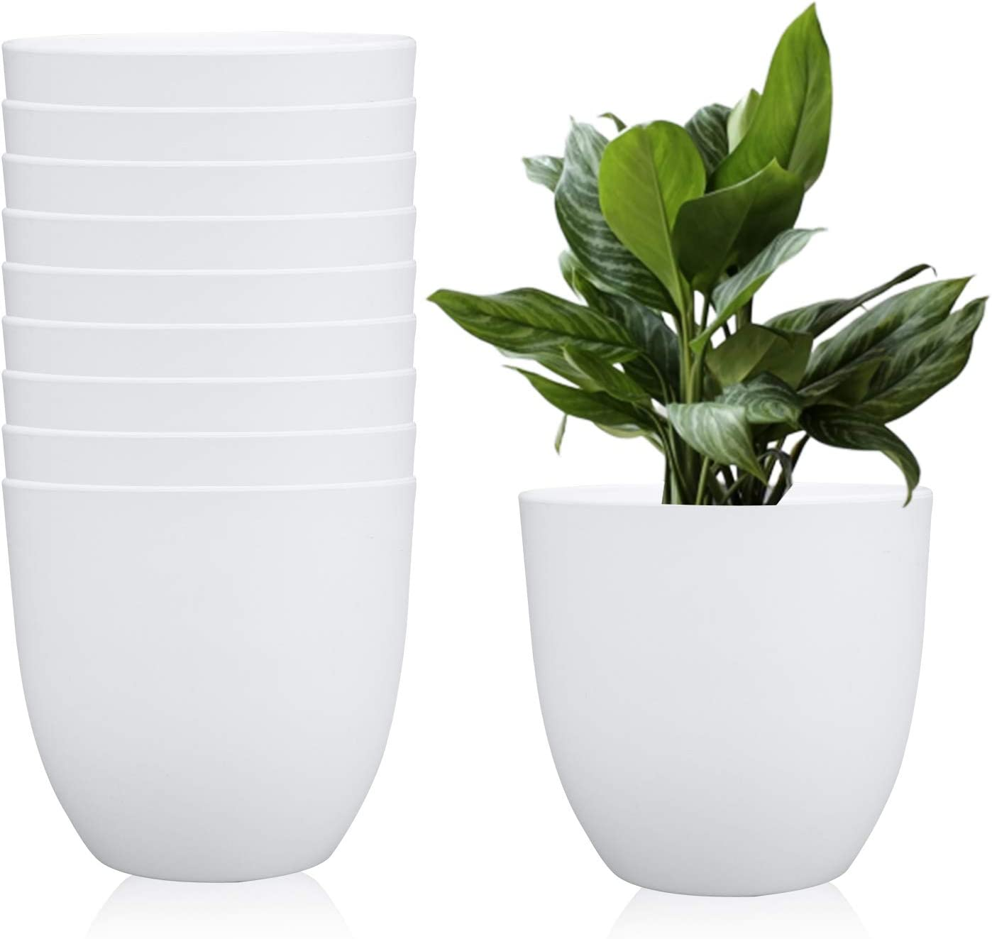 6.3 Inches Plastic Round Garden Pot, Fashionable Planters, Plant Pots, Gardening Containers, Perfect for Yard/Garden/Office/Bathroom/Kitchen/Flower/Succulents, Set of 10 (White)