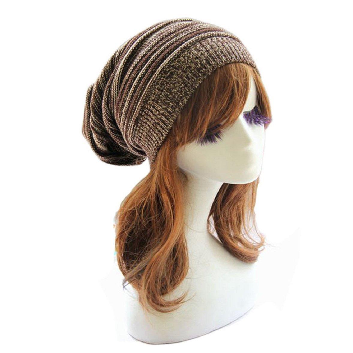 Sandistore Unisex Knit Baggy Beanie Beret Winter Warm Oversized Ski Cap Hat (Coffee)
