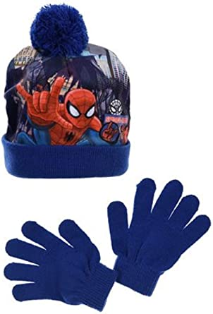 BOYS SPIDERMAN WINTER POMPOM BOBBLE HAT AND GLOVE SET GOOD QUALITY WITH TAG