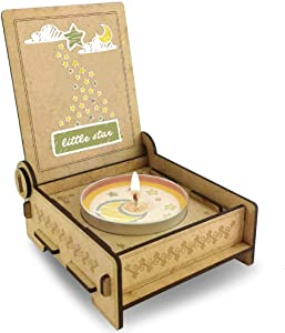 Trost LICHT Baby Loss Candle, miscarriage Comfort Candle for Angel Babies in Wooden Box, Loss of Baby Sympathy Gift, Star (Green)