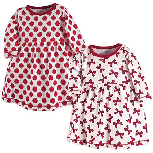 Touched by Nature Baby Girls' Organic Cotton Dress, 2 Pack, Bows Long Sleeve, 0-3 Months ()