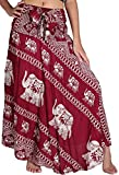 vvProud Women's Long Hippie Bohemian Skirt Gypsy Dress Boho Clothes with Elephant | One Size Fits Asymmetric Hem Design (Red Elephant)