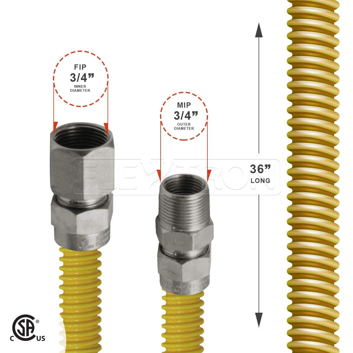 Flextron FTGC-YC12-12 10 Flexible Epoxy Coated Gas Line Connector with 5//8 Outer Diameter and Nut Fittings Yellow//Stainless Steel Everflow Supplies