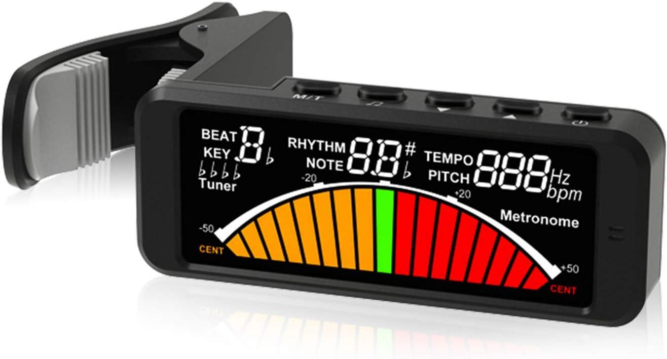 Afinador de guitarra Brynnl, sintonizador eléctrico cromático digital, generador de tonos de metrónomo (3 en 1) con abrazadera giratoria de 360 grados, adecuado para guitarra, bajo, violín, ukelele