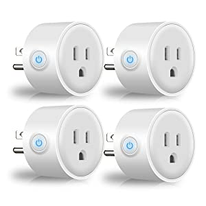 Mini Smart Plug Wi-Fi Outlet, White Remote Control Timer Socket Gadgets for Alexa Devices, Google Home Automation Wireless Accessories - No Hub Required, Controlled by Smartphone App (4 PAC)