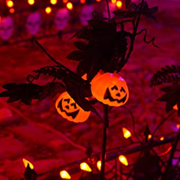 FUNPENY Halloween Decorations 3 Pack Halloween Pumking Garden Stake Lights Outdoor Decorative Lights with 9 Jack-O-Lanterns