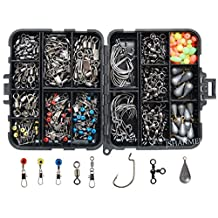 JSHANMEI Fishing Accessories Kit 160pcs, Including Hooks, Sinkers,Bullet Bass Casting Sinker Weights, 4 Different Fishing Swivels Snaps, Fishing Line Beads, Fishing Accessories Set With Tackle Box