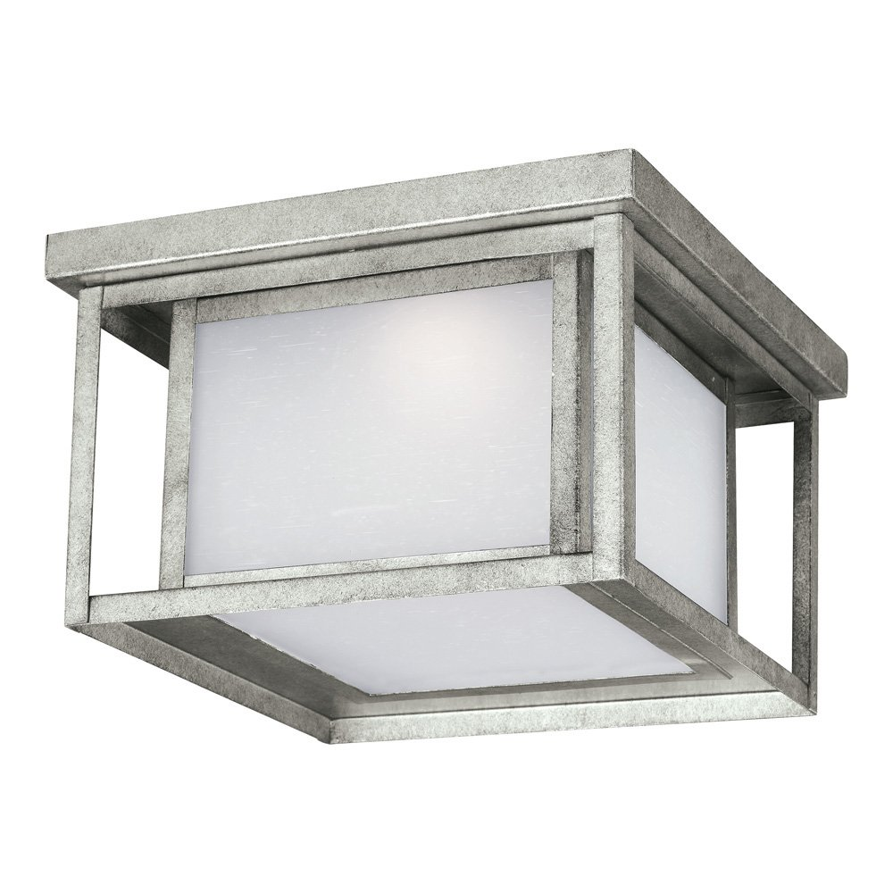 Sea Gull Lighting 7903991S-57 Hunnington LED Outdoor Flush Mount Ceiling Light with Etched Seeded Glass Panels, Weathered Pewter Finish