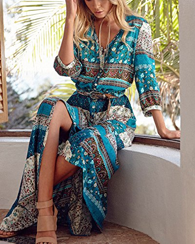 Summer AELSON Long Beach Size Floral Split Dresses Green Maxi Button Dress up Women's Boho Plus qR5nzrx4R