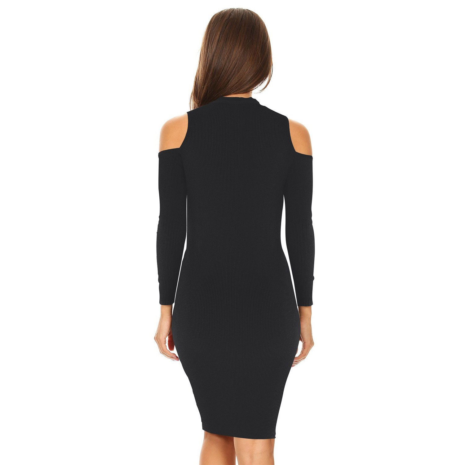 48379bd76cf Sexy Warm Long Sleeve High Mock Neck Cold Open Shoulder Ribbed Rib Knit  Mini Bodycon Sweater Dress at Amazon Women s Clothing store