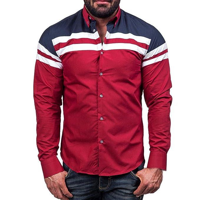 JiaMeng Camisa de Moda de Color sólido para Hombre a908a7ec67e