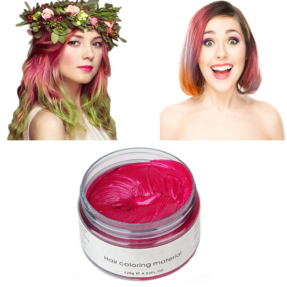 Pink Red Hair Color Wax, Natural Hairstyle Wax 4.23 oz, Temporary Hairstyle Cream for Party, Cosplay, Halloween, Daily use, Date, Clubbing (Pink Red) : Beauty