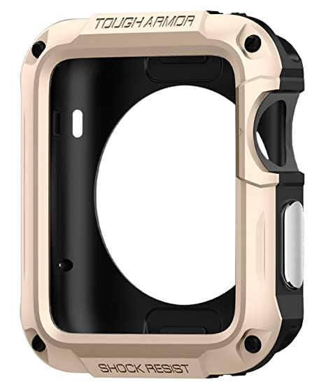 new product 91df6 d4b2a Spigen Tough Armor Designed for Apple Watch Case for 42mm Series 3 / Series  2 / Series 1 and Built in Screen Protector - Champagne Gold